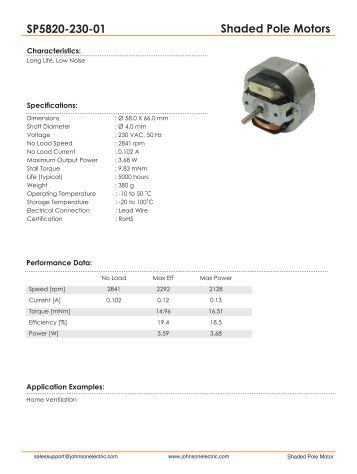 Shaded Pole Motors SP5820-230-01 - Johnson Electric
