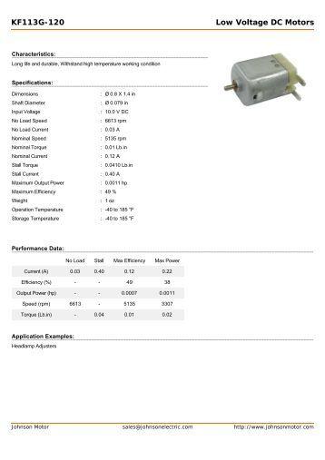 KF113G-120 Low Voltage DC Motors - Johnson Electric