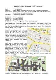 Rock Dynamics Workshop 2009, Lausanne - ISRM