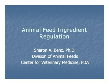 AAFCO definitions – Sharon Benz, CVM/FDA