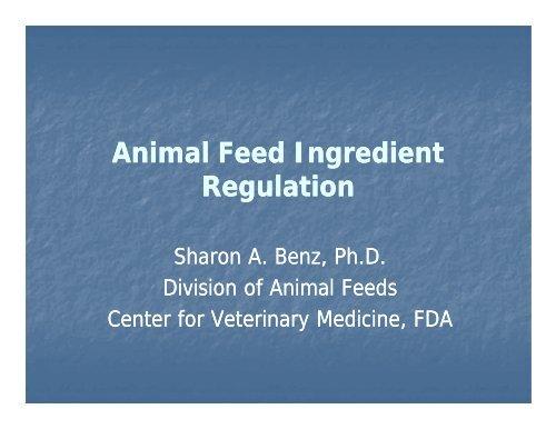 AAFCO definitions – Sharon Benz, CVM/FDA
