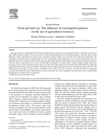 Food and land use. The influence of consumption patterns on the ...