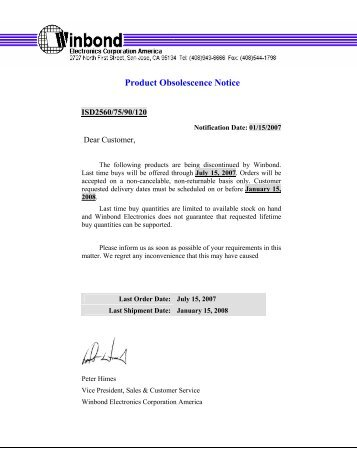 Product Obsolescence Notice - ChipCAD