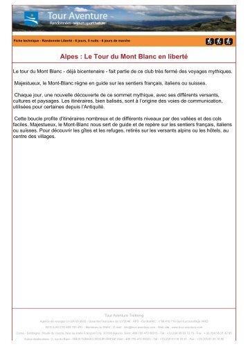 Alpes : Le Tour du Mont Blanc en liberté - Tour aventure