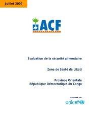 Évaluation de la sécurité alimentaire Zone de Santé de Likati ...