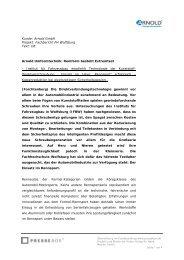 Kunde: Arnold GmbH Projekt: Fachbericht FH ... - PresseBox