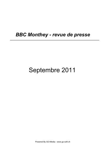 Septembre 2011 - BBC Monthey