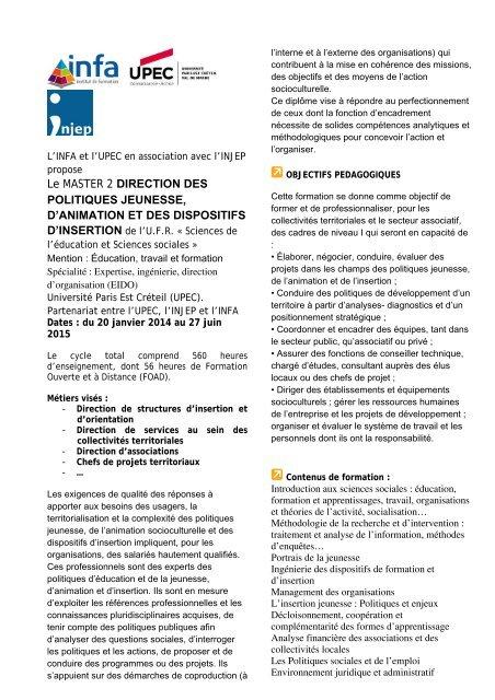 Le MASTER 2 DIRECTION DES POLITIQUES JEUNESSE, D ... - Injep