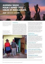 AgendA WASH pour l'AprèS-2015 : CibleS et indiCAteurS