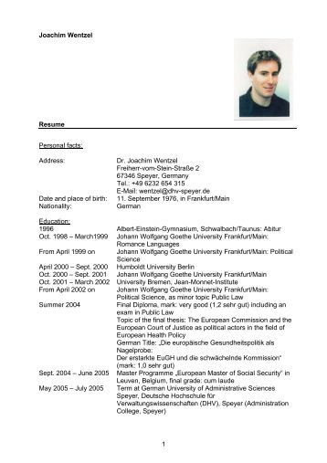 1 Joachim Wentzel Resume Personal facts: Address: Dr. Joachim ...