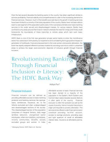 Revolutionizing BankingThrough Financial Inclusion & Literacy - CAB