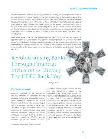 Revolutionizing BankingThrough Financial Inclusion & Literacy - CAB