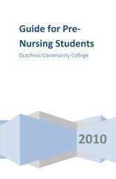 Guide for Pre-Nursing Students - Dutchess Community College