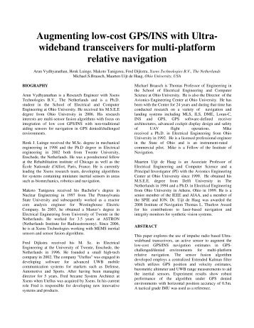 Augmenting low-cost GPS/INS with Ultra- wideband ... - Xsens