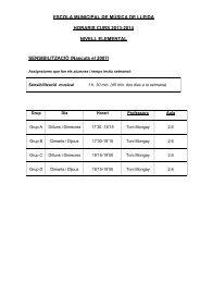 horaris de l'escola de música - Ajuntament de Lleida