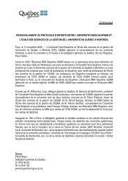 Renouvellement du protocole d'entente entre l'Université Paris ...