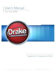 Drake Software User's Manual Supplement: S Corporations (1120S)