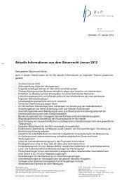 Aktuelle Informationen aus dem Steuerrecht Januar 2012 - B & P ...