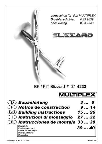 BK / KIT Blizzard # 21 4233 F GB D E I Bauanleitung 3 ... 8 ... - Hitec