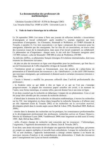 La documentation des professeurs de mathématiques - Educmath