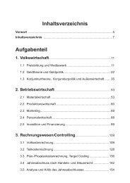 Inhaltsverzeichnis Aufgabenteil