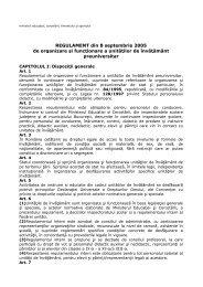 REGULAMENT din 8 septembrie 2005 de organizare şi funcţionare ...