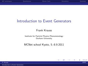 Lecture 1 (The Monte Carlo principle) - Institute for Particle Physics ...