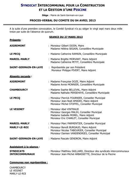 Procès verbal du 4 avril - Saint Germain-en-Laye