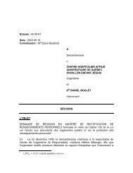 DÉCISION - Commission d'accès à l'information du Québec