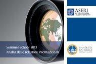Summer School 2013 Analisi delle relazioni internazionali - Aseri ...
