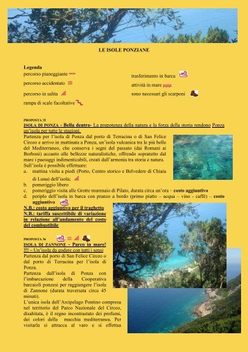 LE ISOLE PONZIANE Legenda percorso pianeggiante == percorso ...