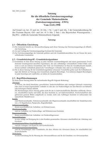 Entwässerungssatzung - Gemeinde Mainstockheim