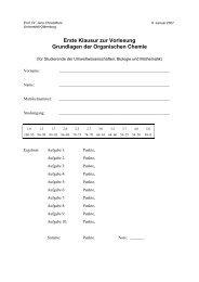 Aufgabe 3 (10 Punkte) - Organische Chemie - Christoffers