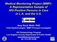 Medical Monitoring Project (MMP): A Representative Sample of HIV ...