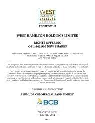 WEST HAMILTON HOLDINGS LIMITED - Bermuda Stock Exchange