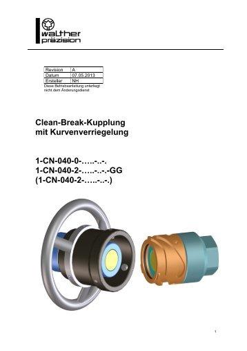 Clean-Break-Kupplung mit Kurvenverriegelung, CN-040, Rev-A