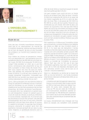 PlaCeMenT L'IMMOBILIER , UN INVESTISSEMENT ? - VMBL