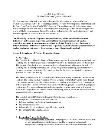 Teacher Evaluation System 09-10 (pdf) - Cresskill Public Schools