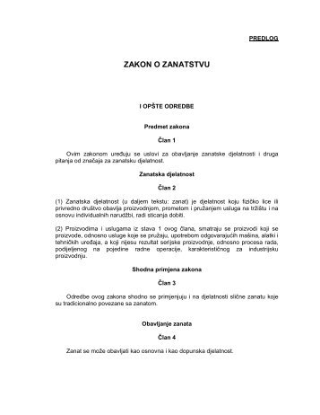 Zakon o zanatstvu- finalna verzija - Vlada Crne Gore