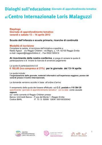 Riepilogo costi e approfondimenti - Reggio Children