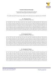 Gabaritos - Provas Objetivas - Conselho Federal de Psicologia