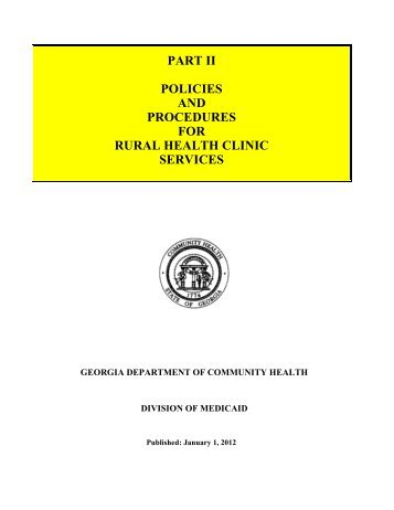 part ii policies and procedures for rural health clinic services
