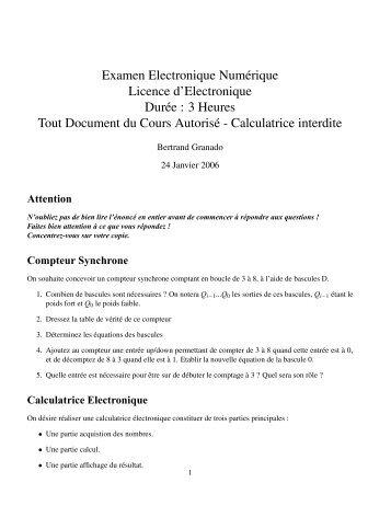 Examen Electronique Numérique Licence d'Electronique Durée : 3 ...