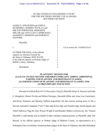 plaintiffs\' first amended motion for provisional class certification ...