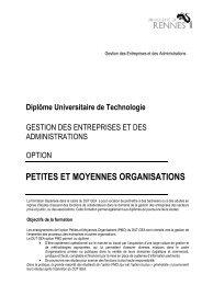 DUT GEA PMO - Université de Rennes 1