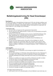 Head Greenkeeper - Swedish Greenkeepers Association