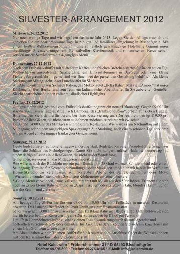 PREISE: Silvesterarrangement 2012/2013 - Sport-Hotel Kaiseralm