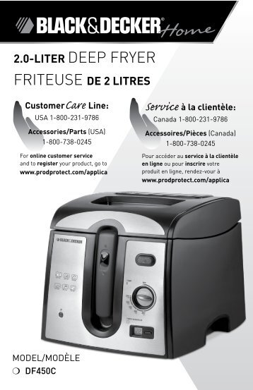 2.0-LITER DEEP FRYER FRITEuSE DE 2 LITRES - Applica Use and ...