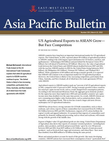 US Agricultural Exports to ASEAN Grow--But ... - East-West Center