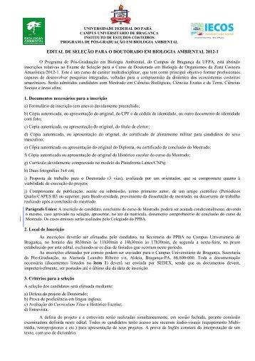 Edital Doutorado PPBA 2012-1 Retificado e Prorrogado - Propesp
